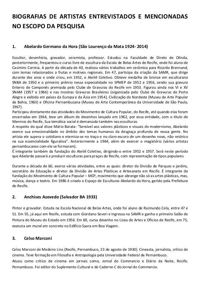 BIOGRAFIAS DE ARTISTAS ENTREVISTADOS E MENCIONADAS NO ESCOPO DA PESQUISA 1. Abelardo Germano da Hora (São Lourenço da Mata...