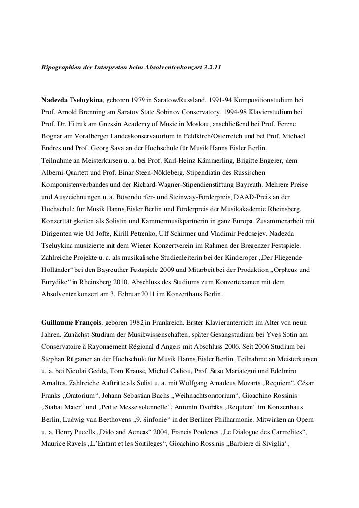 Bipographien der Interpreten beim Absolventenkonzert 3.2.11Nadezda Tseluykina, geboren 1979 in Saratow/Russland. 1991-94 K...