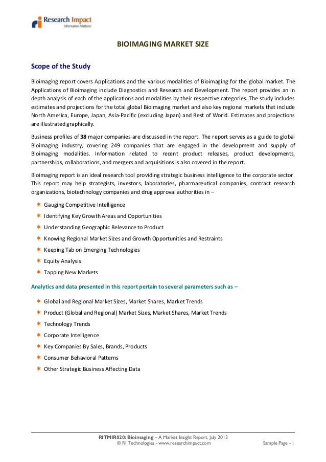 RITMIR020: Bioimaging – A Market Insight Report, July 2013 © RI Technologies - www.researchimpact.com Sample Page - 1 BIOI...