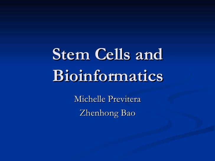 Stem Cells and Bioinformatics Michelle Previtera Zhenhong Bao