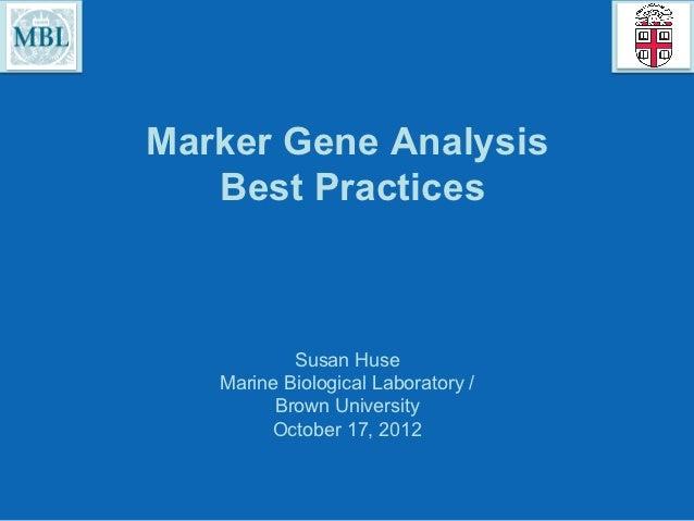 Marker Gene Analysis: Best Practices