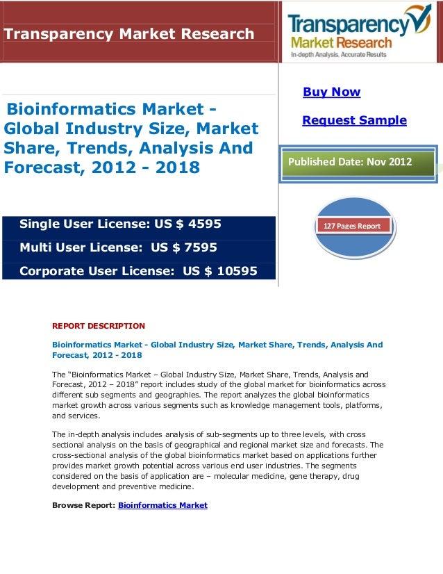 REPORT DESCRIPTIONBioinformatics Market - Global Industry Size, Market Share, Trends, Analysis AndForecast, 2012 - 2018The...