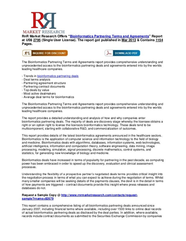 """RnR Market Research Offers """"Bioinformatics Partnering Terms and Agreements"""" Reportat US$ 2795 (Single User License). The r..."""