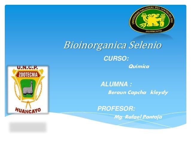 Bioinorganica Selenio CURSO: Química ALUMNA : Beraun Capcha kleydy PROFESOR: Mg. Rafael Pantoja