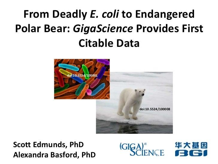 From Deadly E. coli to Endangered Polar Bear: GigaScience Provides First Citable Data<br />doi:10.5524/100001 <br />doi:10...