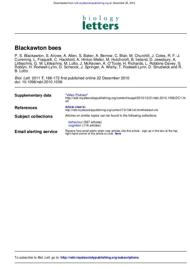 Downloaded from rsbl.royalsocietypublishing.org on December 25, 2012Blackawton beesP. S. Blackawton, S. Airzee, A. Allen, ...