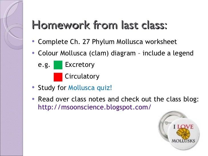 Homework from last class: <ul><li>Complete Ch. 27 Phylum Mollusca worksheet </li></ul><ul><li>Colour Mollusca (clam) diagr...