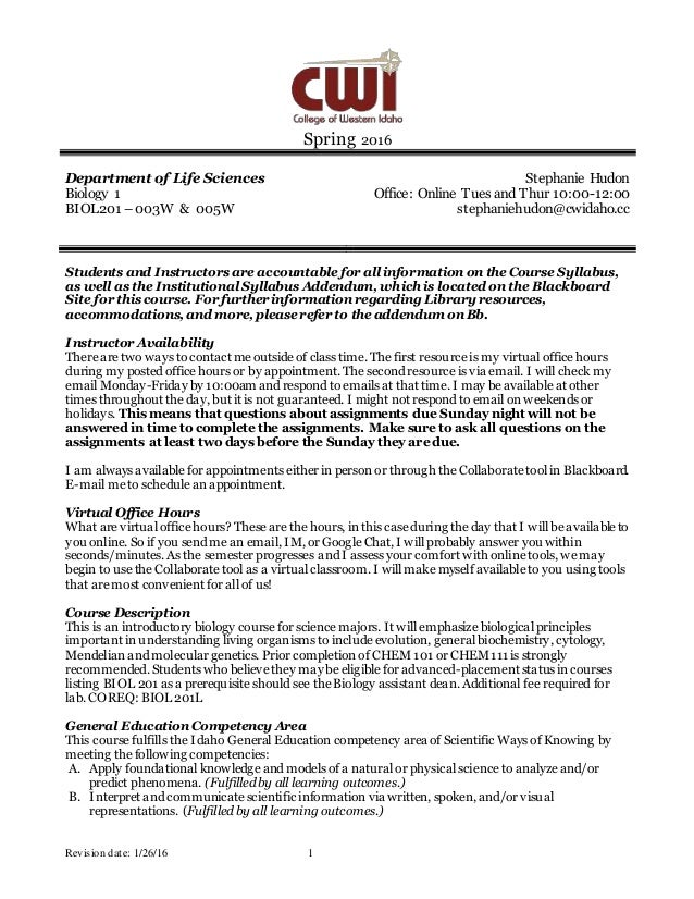 biol 470 syllabus fall 2015 To print or download this file, click the link below: biology 2420 syllabus 70099 fall 2015 online new formatdoc — application/msword, 78 kb (80384 bytes).