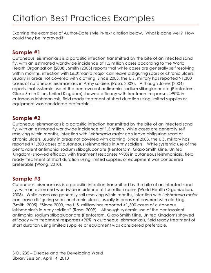 Biol 235 - Citation best practices examples - spring 2010