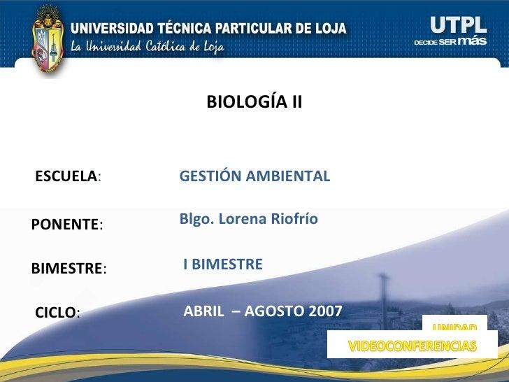 Biología II (I Bimestre)