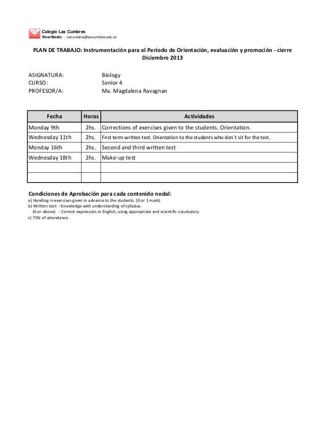 Biología 4to   plan de trabajo - dic 2013