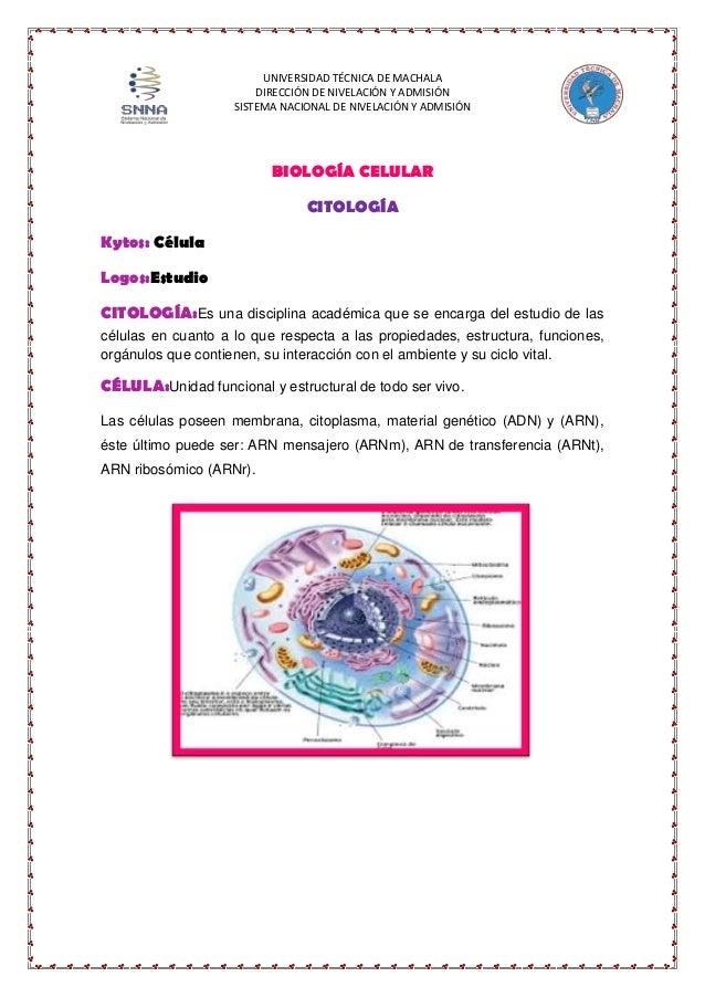 UNIVERSIDAD TÉCNICA DE MACHALA DIRECCIÓN DE NIVELACIÓN Y ADMISIÓN SISTEMA NACIONAL DE NIVELACIÓN Y ADMISIÓN  BIOLOGÍA CELU...
