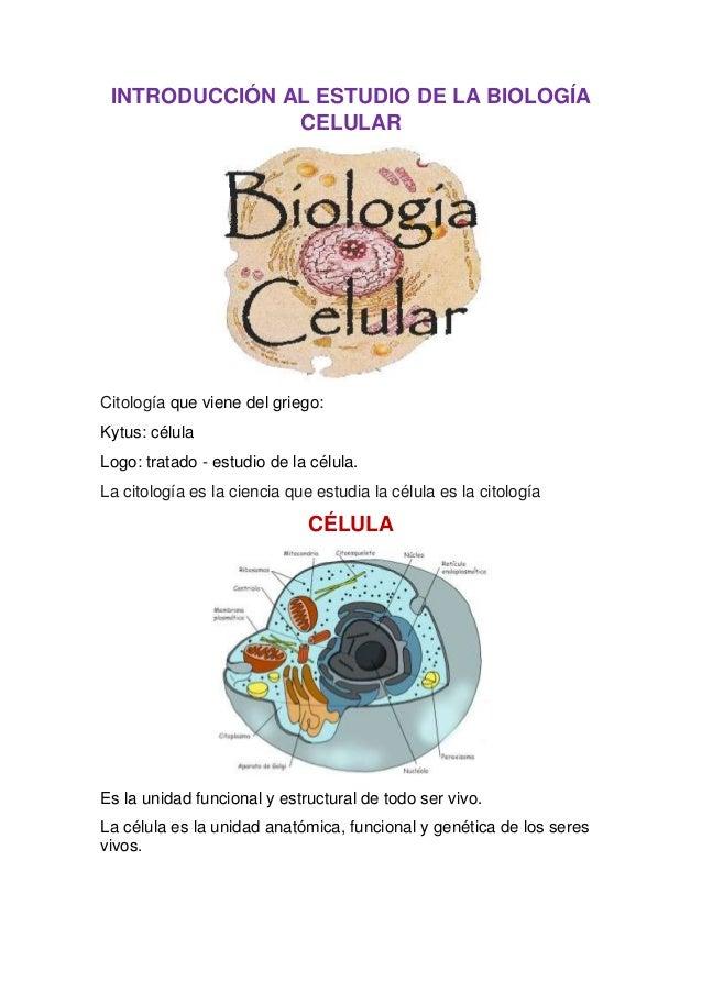 INTRODUCCIÓN AL ESTUDIO DE LA BIOLOGÍA CELULAR  Citología que viene del griego: Kytus: célula Logo: tratado - estudio de l...