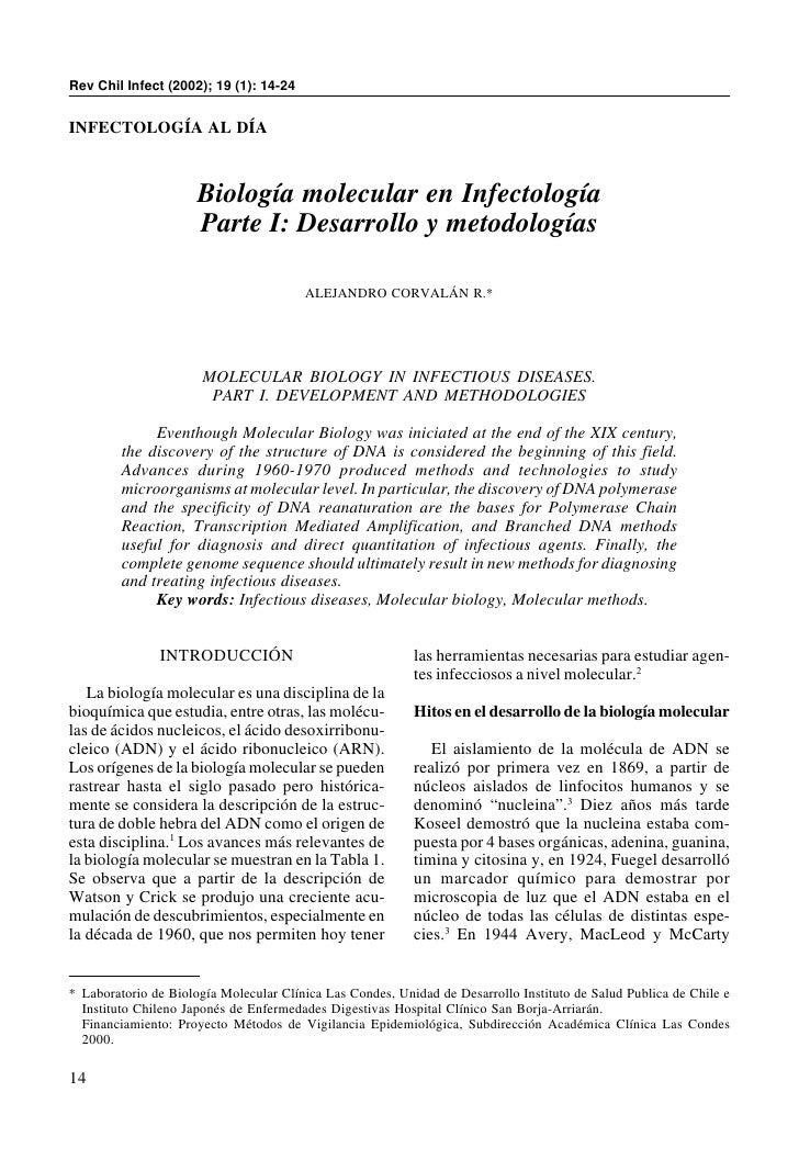 Rev Chil Infect (2002); 19 (1): 14-24INFECTOLOGÍA AL DÍA                      Biología molecular en Infectología          ...