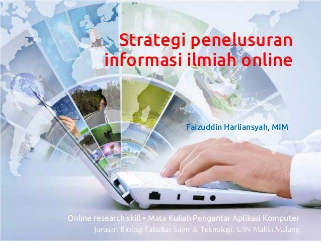 [Aplikom 2013] Strategi penelusuran informasi ilmiah online