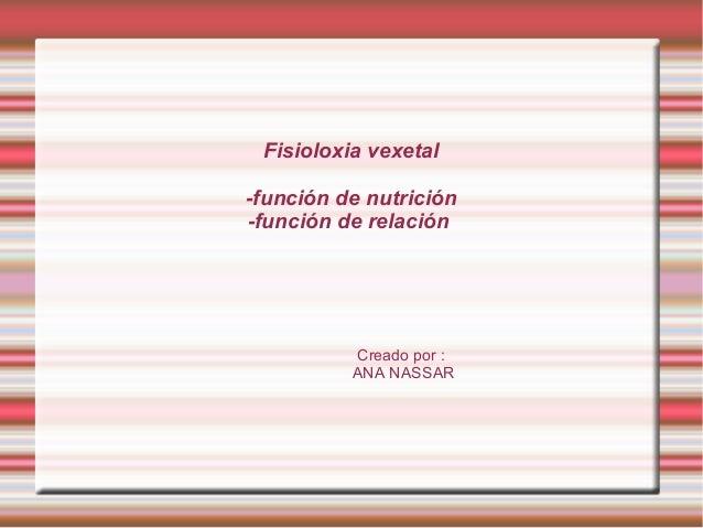 Fisioloxia vexetal-función de nutrición-función de relaciónCreado por :ANA NASSAR
