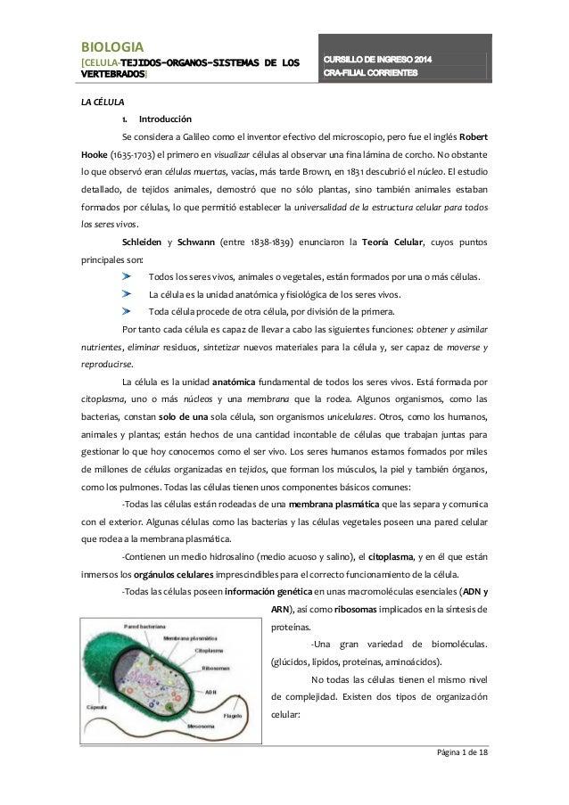 BIOLOGIA [CELULA-TEJIDOS-ORGANOS-SISTEMAS DE LOS VERTEBRADOS]  CURSILLO DE INGRESO 2014 CRA-FILIAL CORRIENTES  LA CÉLULA 1...