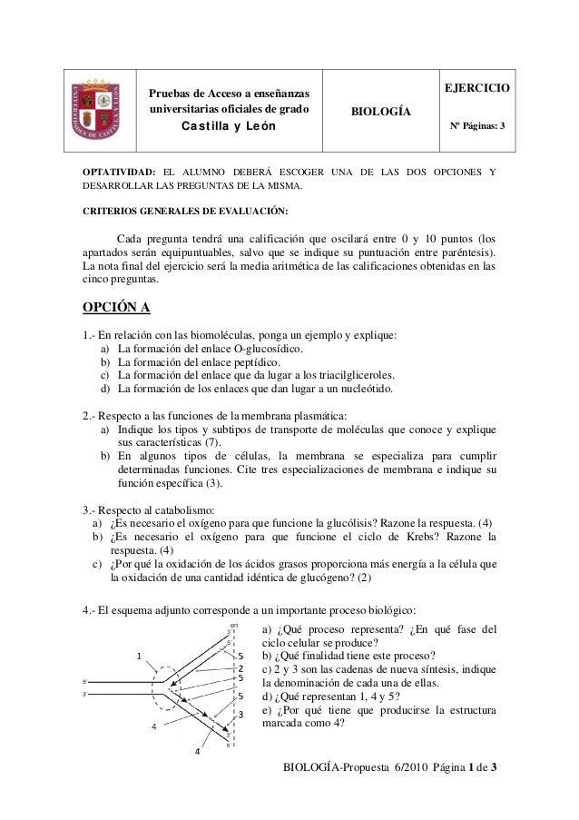 BIOLOGÍA-Propuesta 6/2010 Página 1 de 3 OPTATIVIDAD: EL ALUMNO DEBERÁ ESCOGER UNA DE LAS DOS OPCIONES Y DESARROLLAR LAS PR...