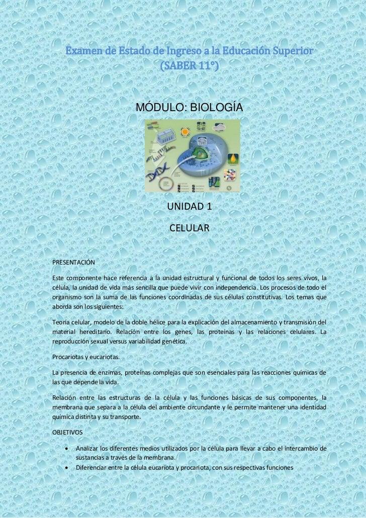 Examen de Estado de Ingreso a la Educación Superior                      (SABER 11°)                             MÓDULO: B...