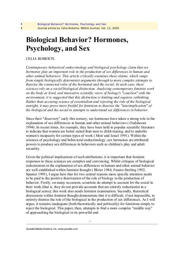 •            Biological Behavior? Hormones, Psychology and Sex•            Journal article by Celia Roberts; NWSA Journal,...