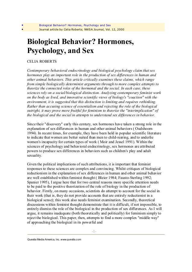 •            Biological Behavior? Hormones, Psychology and Sex•            Journal article by Celia Roberts; NWSA Journal,...