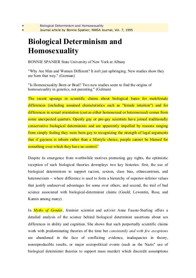 •          Biological Determinism and Homosexuality•          Journal article by Bonnie Spanier; NWSA Journal, Vol. 7, 199...