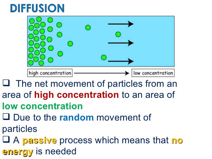 <ul><li>The net movement of particles from an area of  high concentration  to an area of  low concentration </li></ul><ul>...