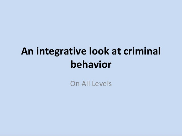 An Integrative Look at Criminal Behavior