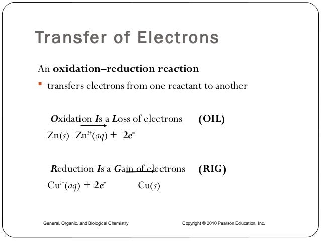 Transfer of Electrons An oxidation–reduction reaction  transfers electrons from one reactant to another Oxidation Is a Lo...