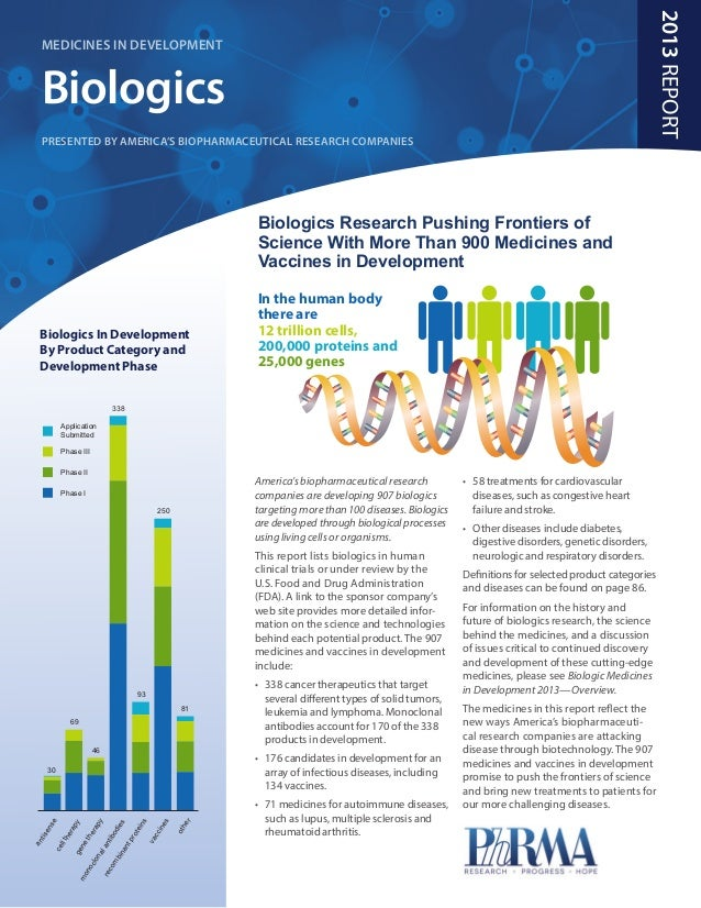 PhRMA Report 2013: Medicines in Development: Biologics