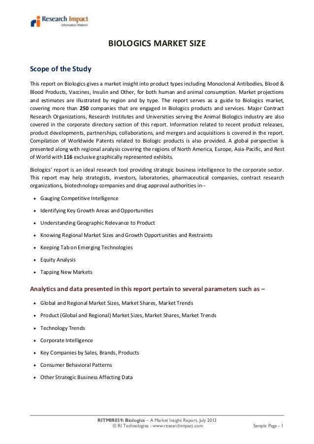 Biologics market research report