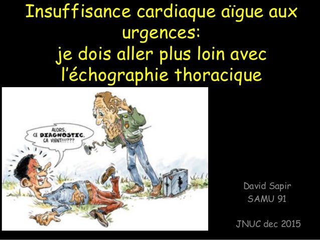 Insuffisance cardiaque aïgue aux urgences: je dois aller plus loin avec l'échographie thoracique David Sapir SAMU 91 JNUC ...