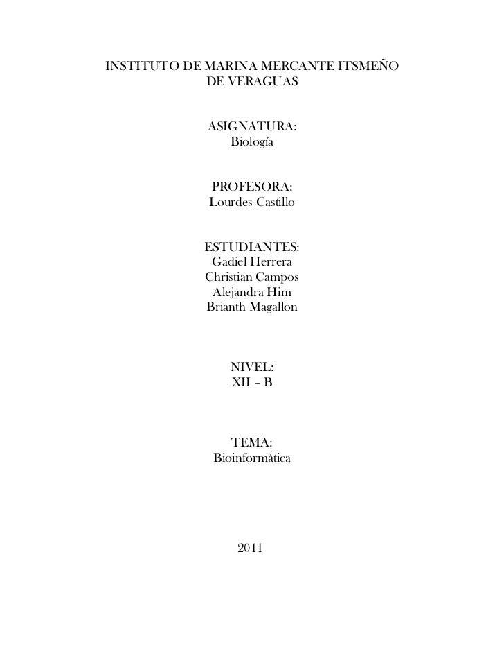 INSTITUTO DE MARINA MERCANTE ITSMEÑO             DE VERAGUAS            ASIGNATURA:               Biología            PROF...