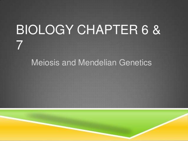 BIOLOGY CHAPTER 6 &7  Meiosis and Mendelian Genetics