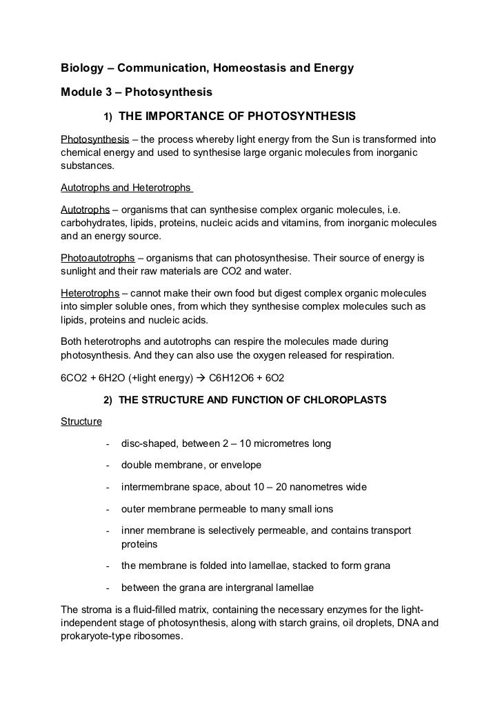 Biology – Communication, Homeostasis and EnergyModule 3 – Photosynthesis            1) THE IMPORTANCE OF PHOTOSYNTHESISPho...