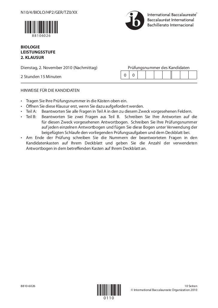 N10/4/BIOLO/HP2/GER/TZ0/XX       88106026BIOLOGIELEISTUNGSSTUFE2. KLAUSURDienstag, 2. November 2010 (Nachmittag)          ...