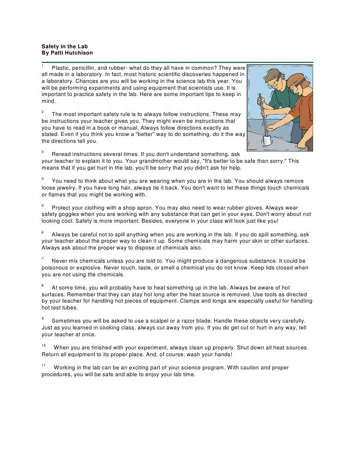 Safety in the LabBy Patti Hutchison<br />right01Plastic, penicillin, and rubber- what do they all have in common? ...