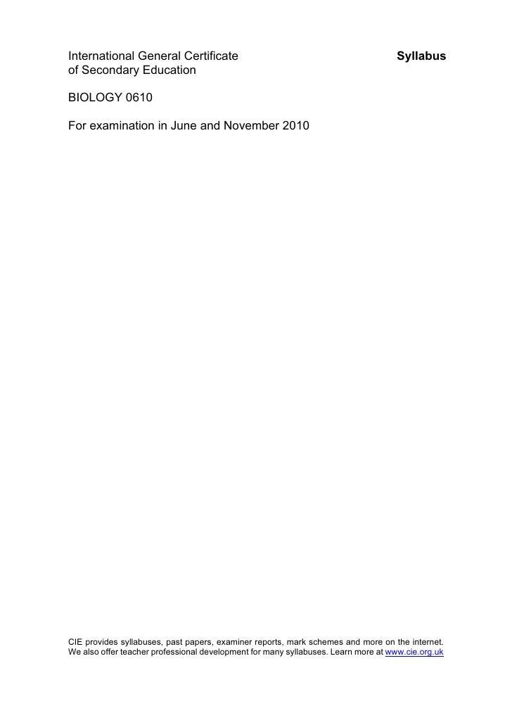 Biology Syllabus0610 Y10 Sy[1]