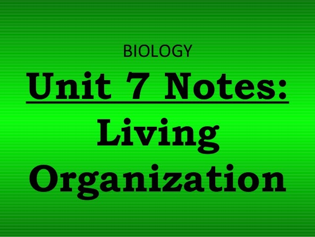 BIOLOGY Unit 7 Notes: Living Organization