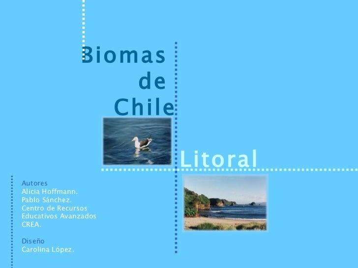 Biomas  de  Chile Litoral Autores Alicia Hoffmann. Pablo Sánchez. Centro de Recursos Educativos Avanzados CREA. Diseño Car...