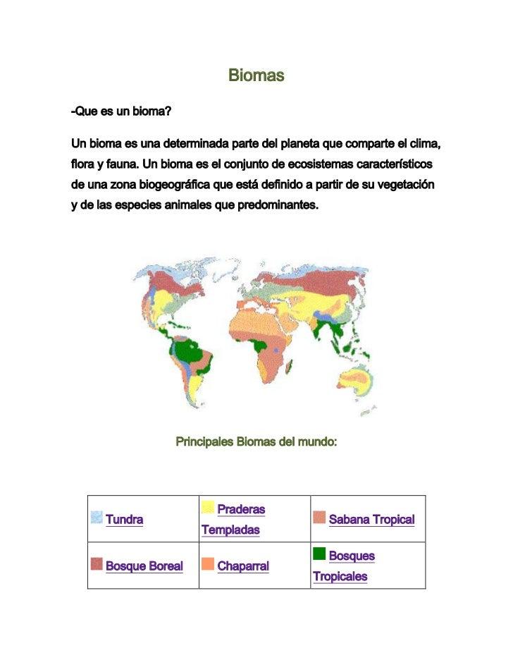Biomas-Que es un bioma?Un bioma es una determinada parte del planeta que comparte el clima,flora y fauna. Un bioma es el c...