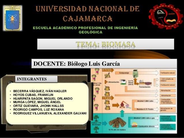 DOCENTE: Biólogo Luis García  INTEGRANTES  • BECERRA VÁSQUEZ, IVÁN HAGLER  • HOYOS CUBAS, FRANKLIN  • HUARIPATA SAGON, MIG...
