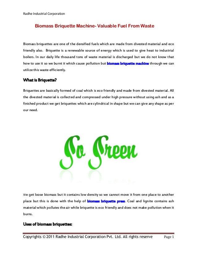 Radhe Industrial Corporation Copyrights © 2011 Radhe Industrial Corporation Pvt. Ltd. All rights reserve Page 1 Biomass Br...