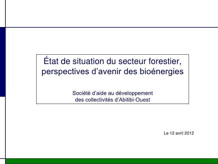 État de situation du secteur forestier,perspectives d'avenir des bioénergies        Société d'aide au développement       ...