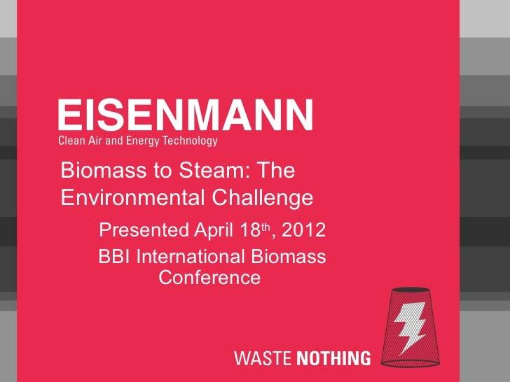 Biomass to Steam: TheEnvironmental Challenge   Presented April 18th, 2012   BBI International Biomass          Conference