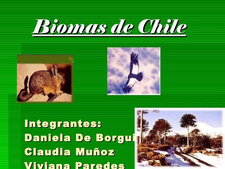 Biomas de Chile Integrantes:  Daniela De Borguie Claudia Muñoz Viviana Paredes