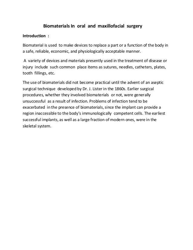 Biomaterials  in oral  and  maxillofacial  surgery