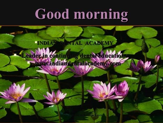 Good morningGood morning www.indiandentalacademy.comwww.indiandentalacademy.com INDIAN DENTAL ACADEMYINDIAN DENTAL ACADEM...