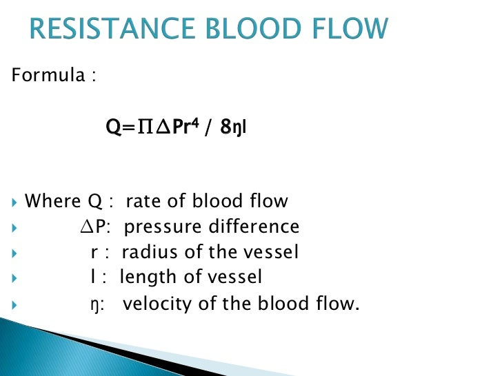 Blood flow formula