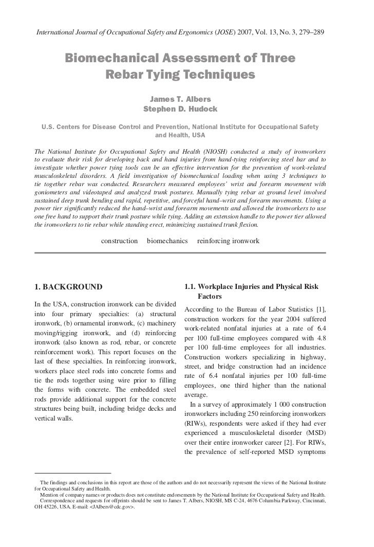 International Journal of Occupational Safety and Ergonomics (JOSE) 2007, Vol. 13, No. 3, 279–289              Biomechanica...